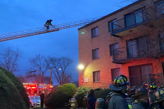Firefighter on a ladder