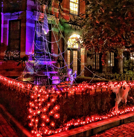 Halloween decorations on Marlborough Street in the Back Bay