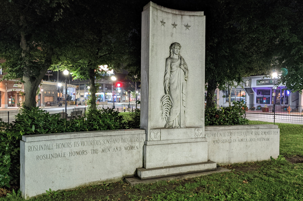 World War I and Korean and Vietnam War memorial in Adams Park in Roslindale