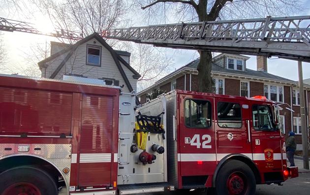 Moraine Street scene with firetruck