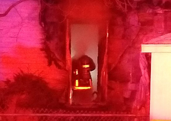 Firefighter at Neponset Avenue fire