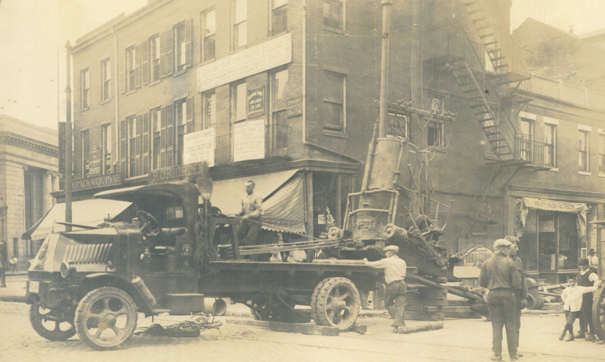 Boiler on a flatbed in old Boston