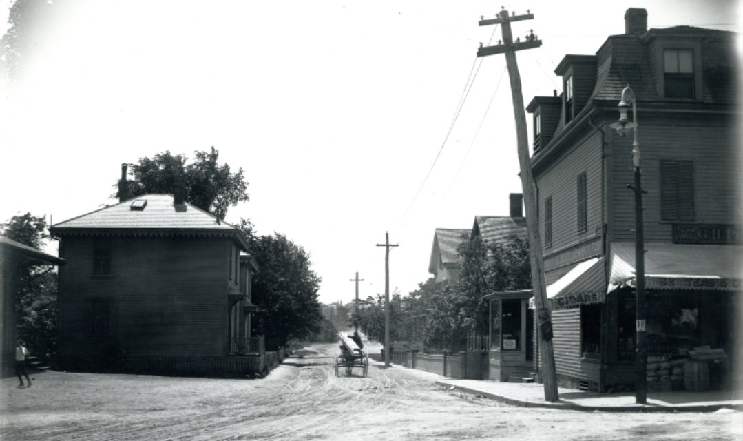 Old Boston street scene with horse and wooden planks