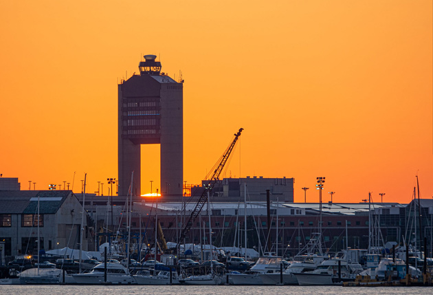 Sunrise over Logan Airport