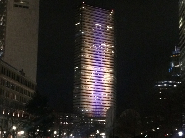 Downtown Boston in purple and gold for Kobe Bryant