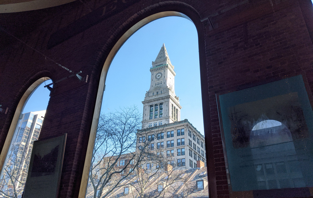 View of the Custom House from the Quincy Market rotunda