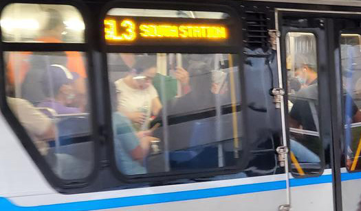 Crowded Silver Line bus on Friday morning