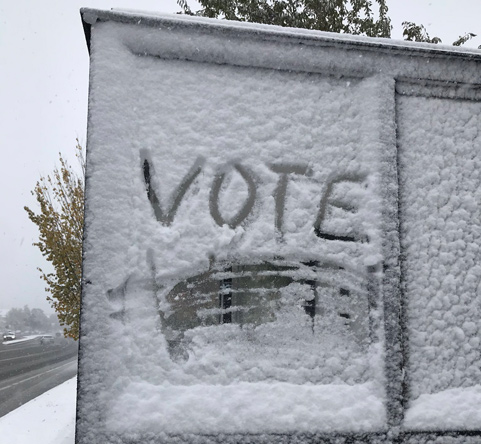 Message in the snow: Vote