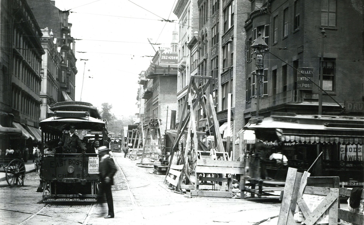 Old Boston street scene with trolley