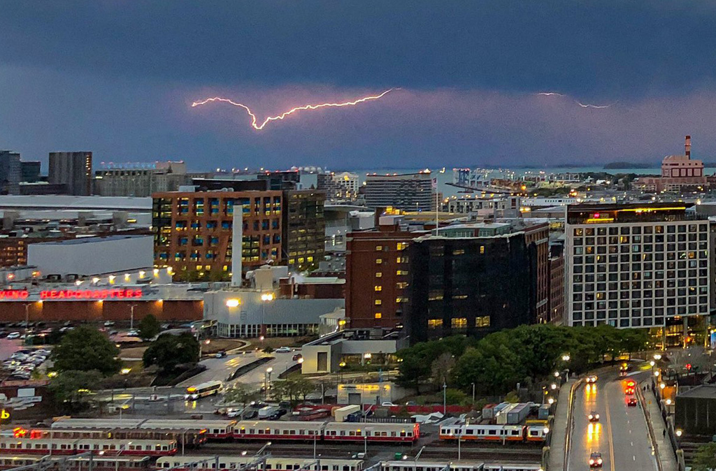 Lightning over Boston Harbor