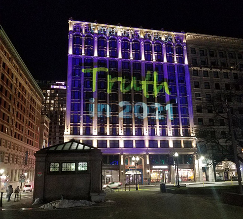 Truth in 2021 on the side of the Little Building at Boylston and Tremont