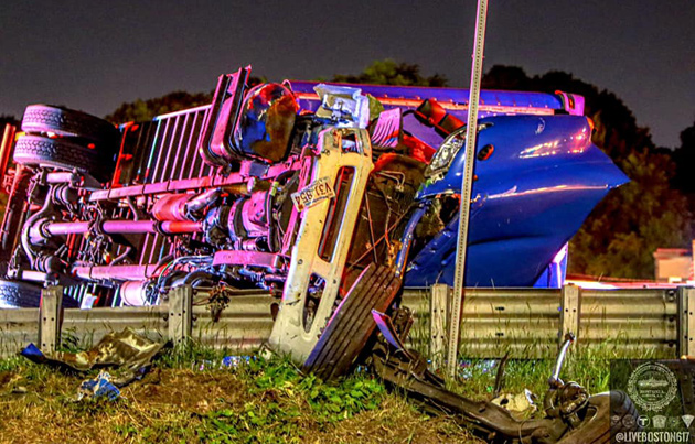 Overturned truck on I-93 northbound