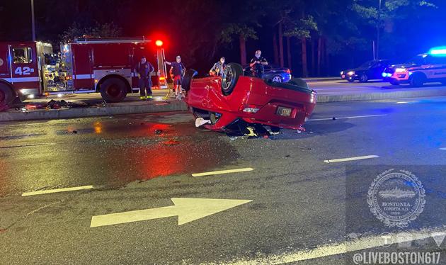 Overturned car on Seaver Street