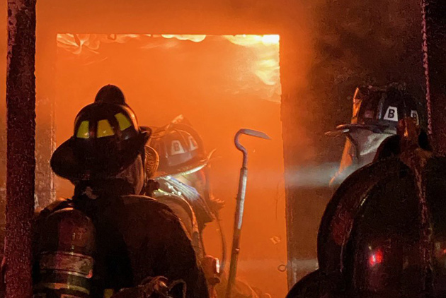 Firefighters at Union Avenue fire in Jamaica Plain