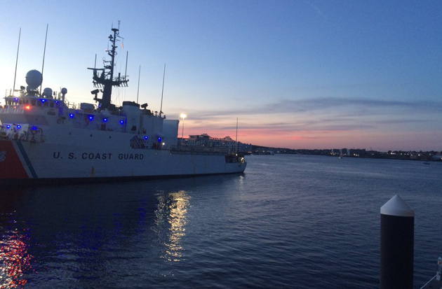 Coast Guard cutter at dusk in the North End