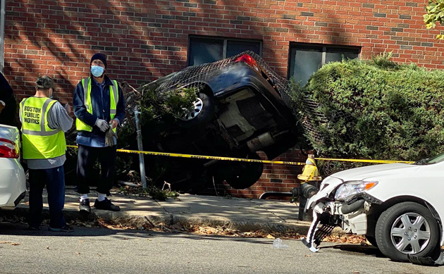 Car into building on Washington Street in Roslindale