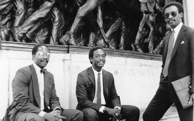 Three men at the Robert Gould Shaw memorial in the 1980s
