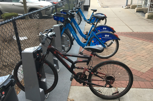 BlueBike station in West Roxbury with errant bike