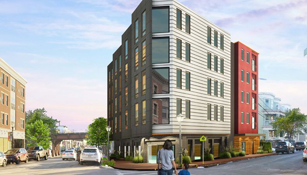 Architect's rendering of proposed Fields Corner apartment building