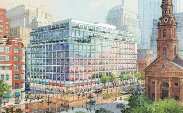 Rendeirng of proposed building at Boylston and Arlington