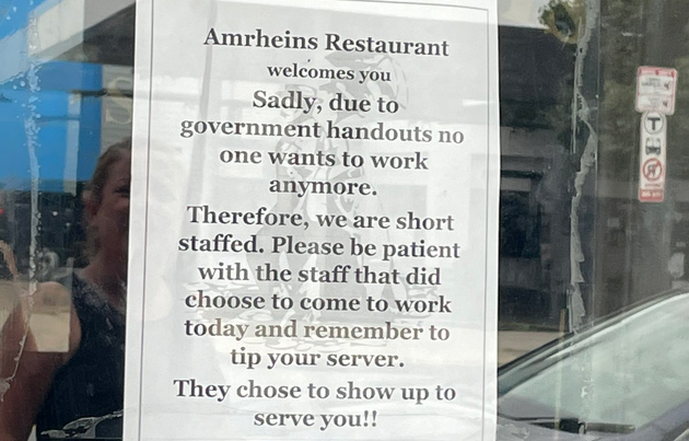 Amrheins blames government handouts for its inability to hire workers