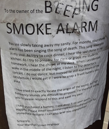 Flier from somebody sick of all the beeping