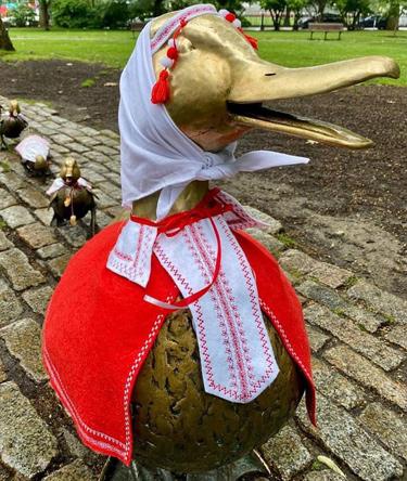 Public Garden duck familiy celebrates Belarussian Independence Day