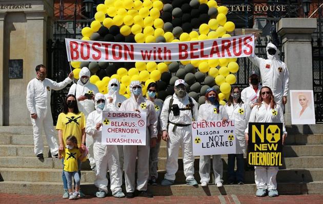 Boston-area Belarusians protest Putin and Chernobyl