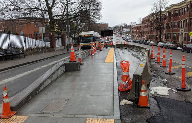 New bus stop going in on Columbus Avenue