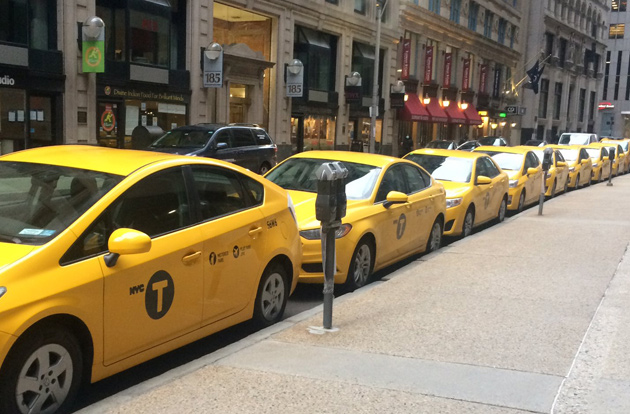New York City cabs on Devonshire Street in Boston