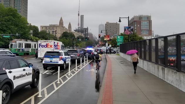 Emergency responders at bridge