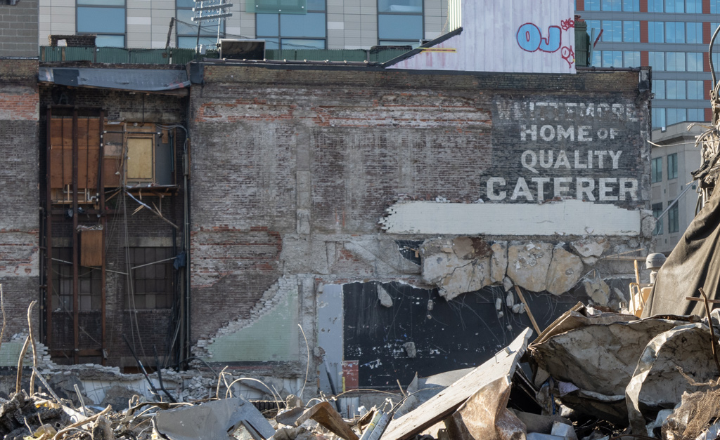 Painted wall shows former home of Whittemore Caterer on Boylston Street