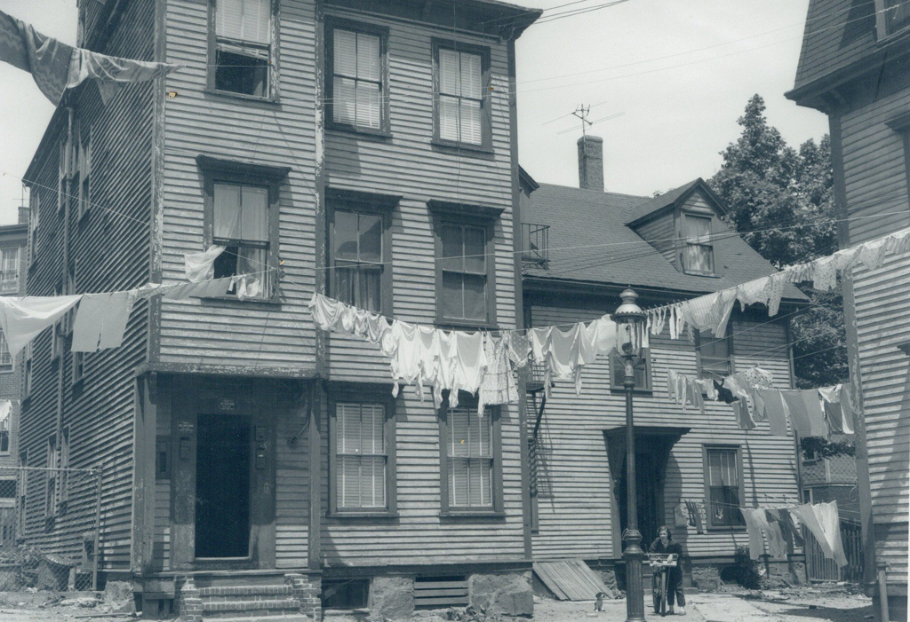Clothes lines in old Boston