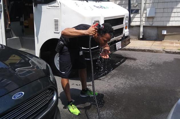 FedEx driver cools down