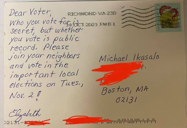 Postcard says people know if you voted