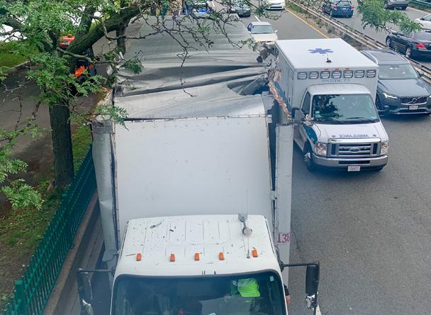 Peeled back truck on Storrow Drive