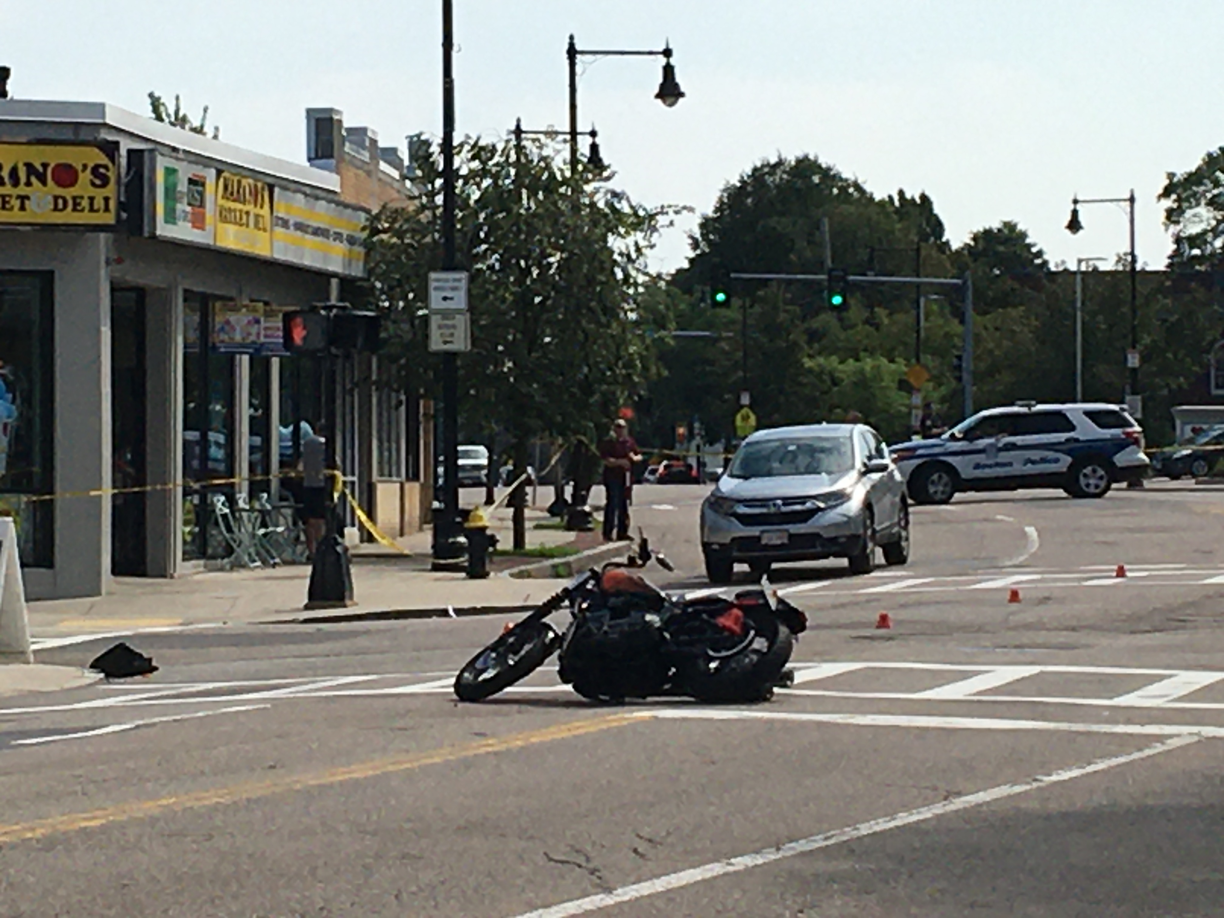 Motorcycle down on Centre Street