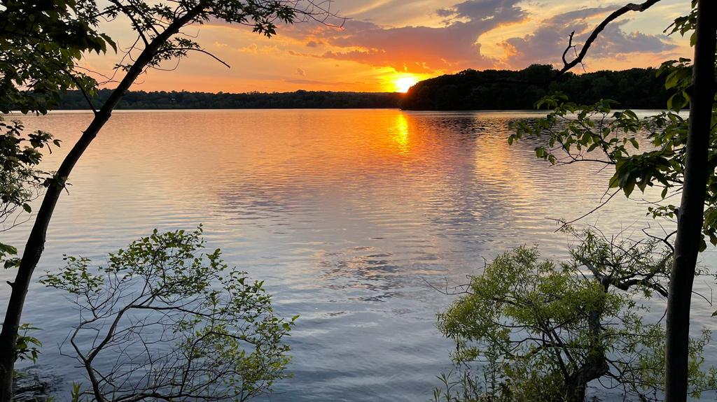 Sunset over Fresh Pond in Cambridge