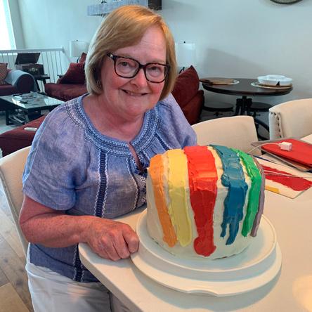 Mary McCann with Dorchester Gas Tank birthday cake