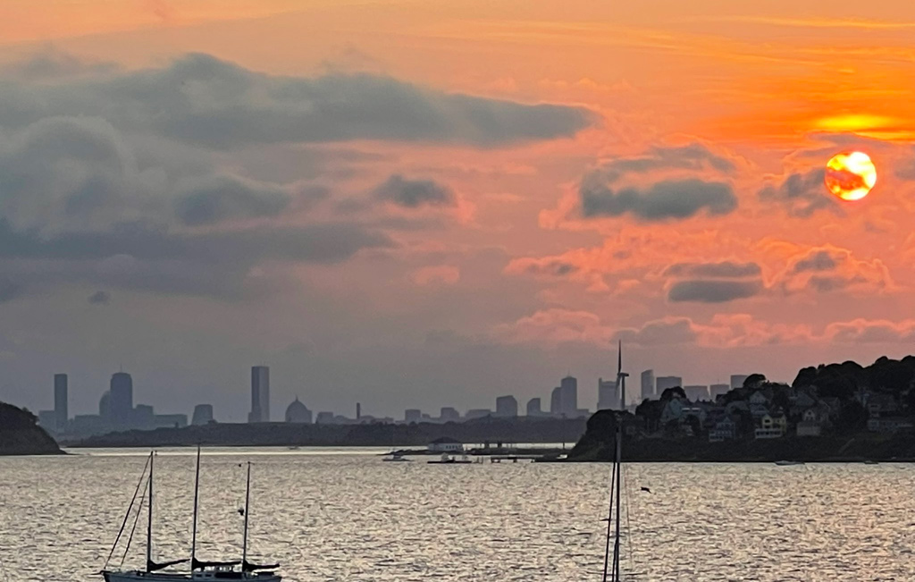 Sunset over downtown Boston and the Back Bay from Hull