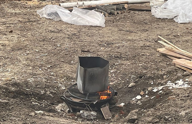 Ever burning fire pit on Savin Hill Avenue in Dorchester