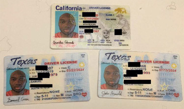 Fake licenses used in the plot