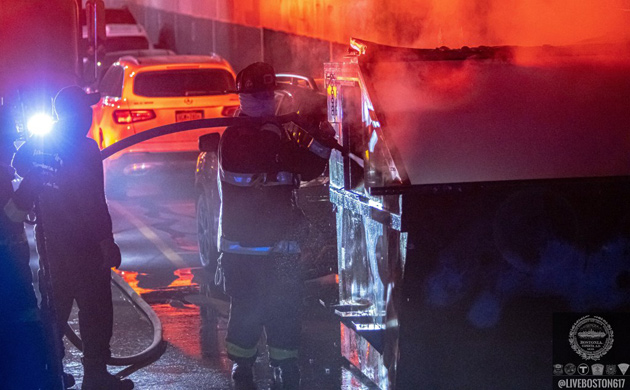 Firefighters put out a Fenway dumpster fire