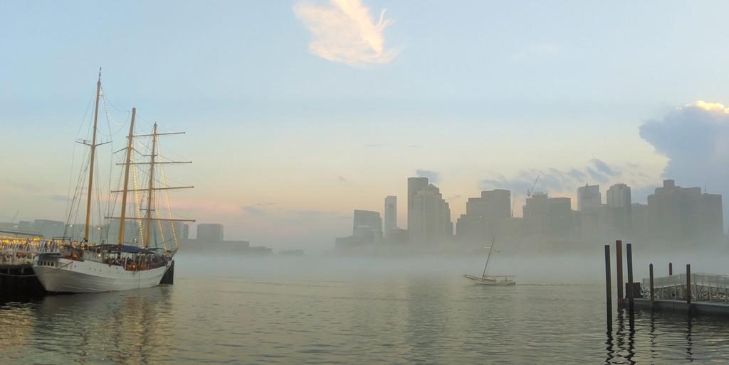 Stillness in the fog on Boston Harbor