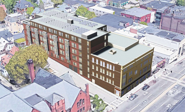 Rendering of possible Fox Hall project in Uphams Corner