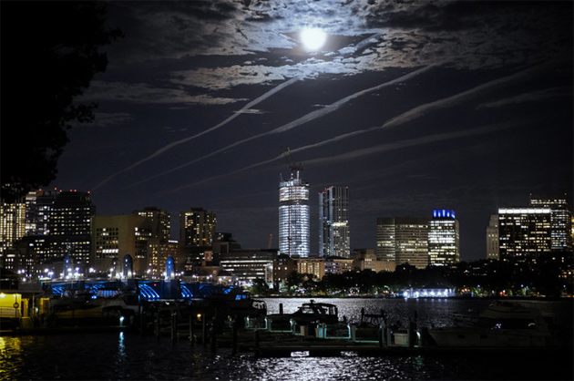 Full moon over Kendall Square in Cambridge