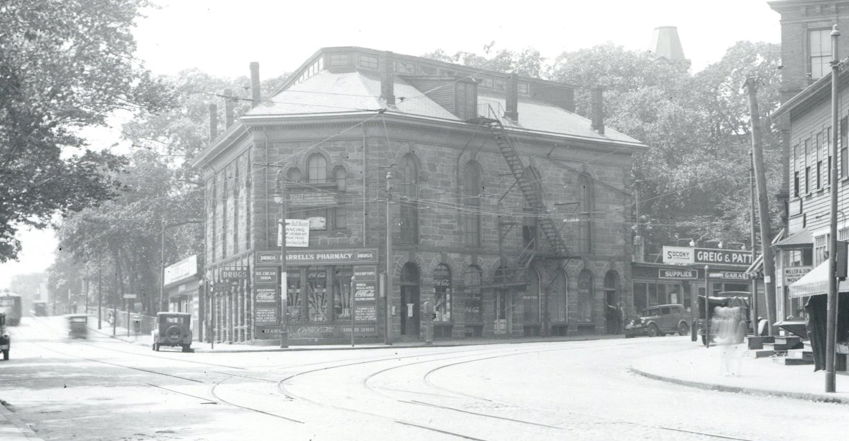 Pharmacy and dance hall in old Boston