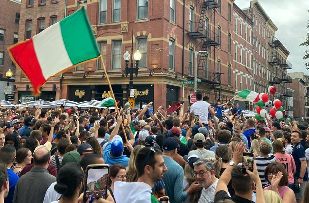 People celebrate Italy UEFA win on Hanover Street