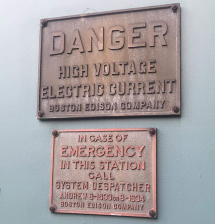 High-voltage signs at BU are so old they still list telephone exchanges