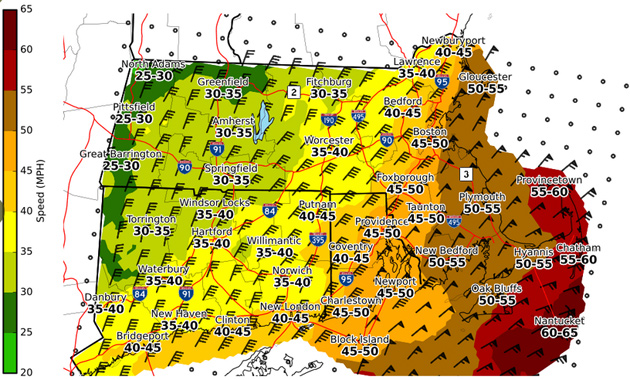 Map showing expected high wind gusts across southern New England Tuesday and Wednesday